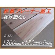 杉板プレーナー加工材 抜け節なし 長1800mm×幅175mm×厚9mm